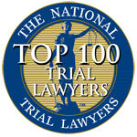 member top 100 lawyers awarded by the national trial lawyers, emblem and award with link if you clcik ont he top 100 trial lawyers emblem, link to the website discussing horowitz
