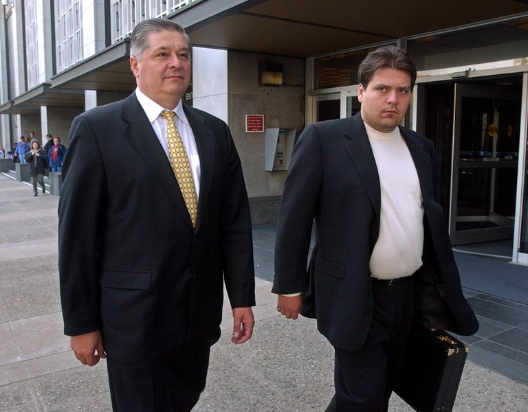 prime minister of ukraine pavel lazarenko and his son alexander outside the district court (united states district court) in san francisco with link to New York times article on lazarenko and other oligarchs