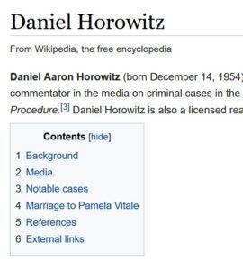 Part of daniel horowitz' wikipedia page click to the correct page
